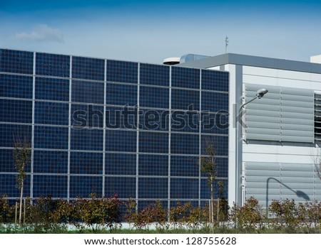 wall of solar panels - stock photo
