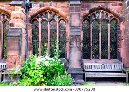 Wall of the Chester Cathedral, Chester, England - stock photo