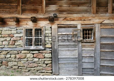 wall of the farmhouse - stock photo