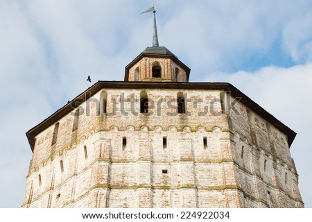 Wall of the Kirillo-Belozersky monastery. Architectural monument of Russia. - stock photo
