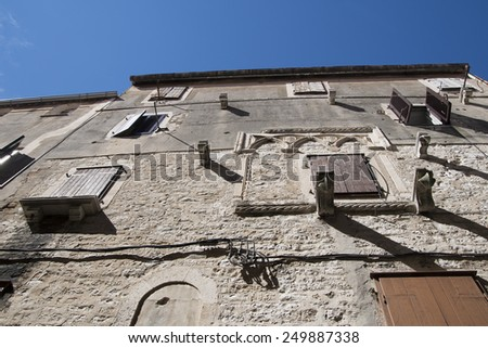 wall of the old town, close up - stock photo