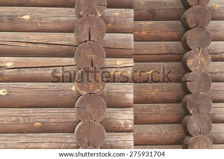 Wall of traditional hardwood timber house. - stock photo