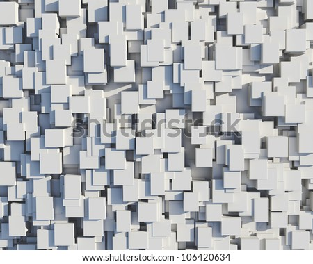 Wall of white cubes - stock photo