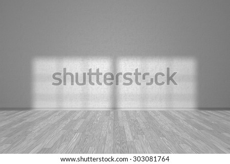 Wall of white empty room with wooden parquet floor under sun light through window, 3D illustration