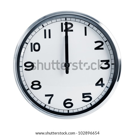 Wall office clock showing at noon on a white background - stock photo