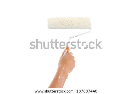Wall paint brush - stock photo