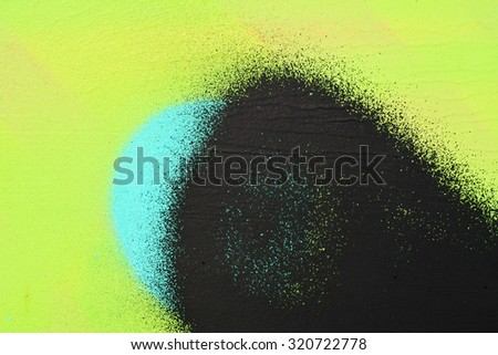 Wall, painted green with black paint - stock photo