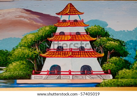 Wall painting chinese temple. - stock photo