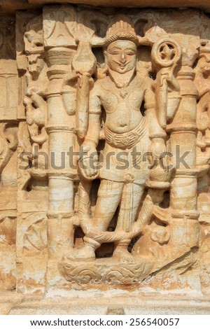 Wall panel sculpture at Vijay Sthambh (Victory Tower), Chittorgarh Fort, Rajasthan, India, Asia