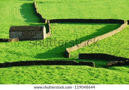 Wall patterns at Gunnerside, Swaledale, North Yorkshire. UK - stock photo