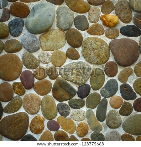 Wall round stone rock texture for backgourd - stock photo