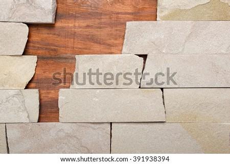 Wall stone texture background masonry architecture detail - stock photo