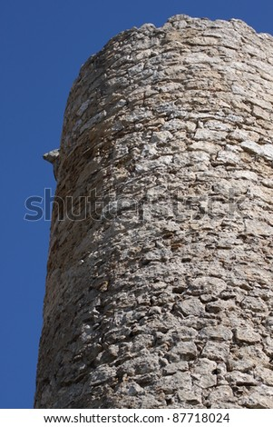 Wall stone wall of an ancient castle in Sicily - stock photo