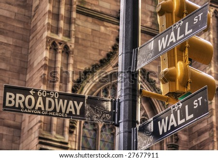 Wall Street and Broadway Crossing - stock photo