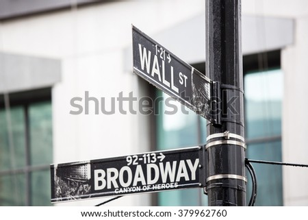 Wall street and broadway sign in New York - stock photo
