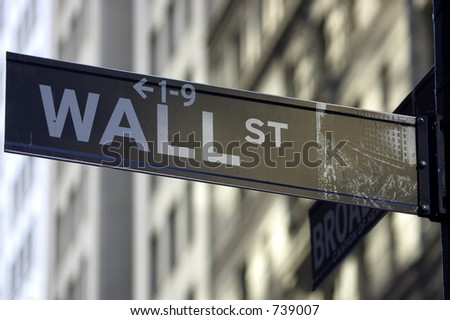 Wall street sign corner of broadway, the brown colour indicates the historic area, manhattan, new york city, America, usa