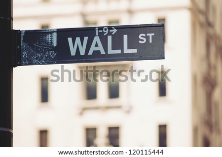 Wall Street sign in downtown Manhattan, New York City.. - stock photo