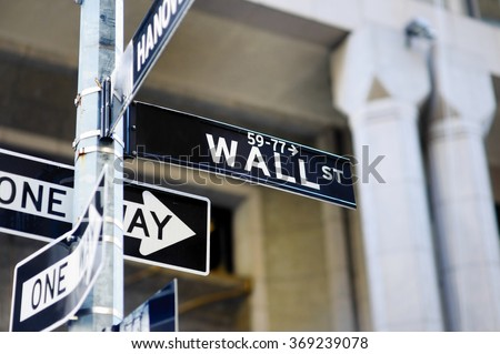 Wall Street sign in lower Manhattan, New York, USA