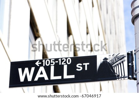 Wall Street Sign, , New York City, USA - stock photo