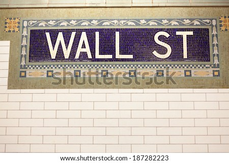 Wall Street Subway Station sign