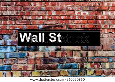 Wall Street subway station sign  - stock photo