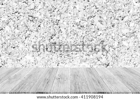 Wall texture surface white color use for background with Wood terrace