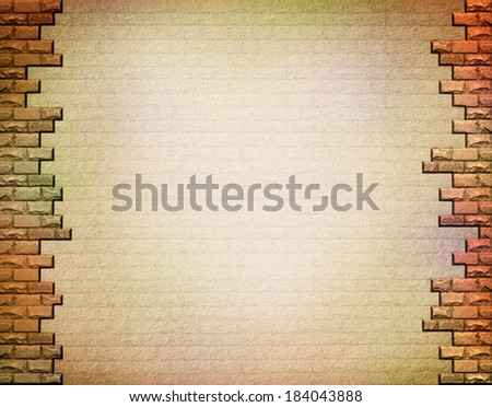 Wall texture with bricks on the edges