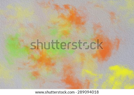 wall texture with orange green yellow smoke,Abstract background - stock photo