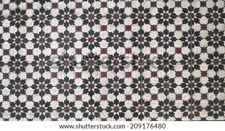 Wall tiles with typical old style, detail of traditional decoration of France, ceramic art  - stock photo