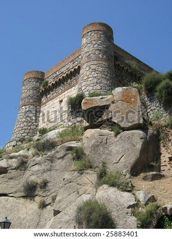 Wall tower toledo - stock photo