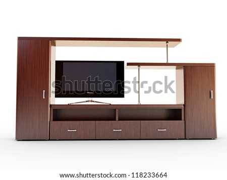 Wall unit and TV on a white background - stock photo