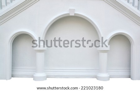 wall white and pillar isolate - stock photo