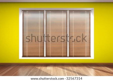 wall window blind yellow - stock photo