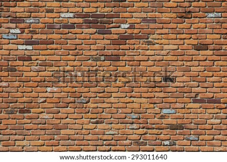 Wall with brown bricks in Detroit - stock photo
