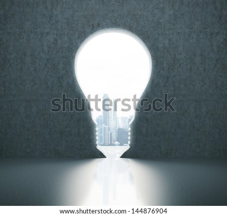 wall with bulb-shaped doorway to the city - stock photo
