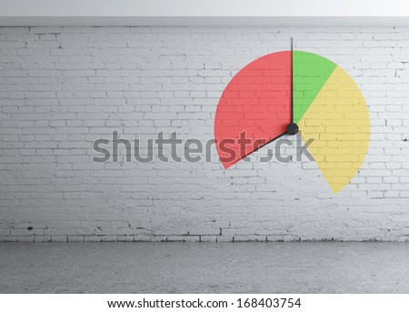 wall with chart and clock - stock photo