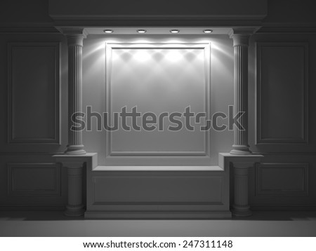 Wall with classical columns and moldings - stock photo