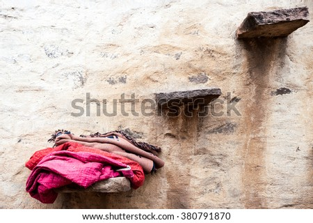 Wall with outside stairs, Aihole, Karnataka, India