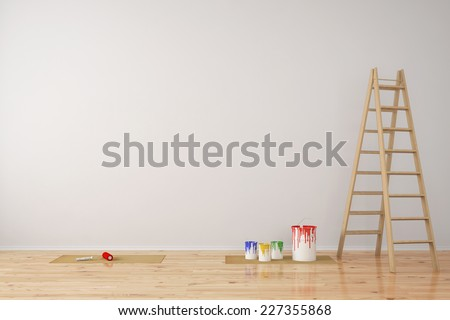Wall with paint cans and ladder during room renovation (3D Rendering) - stock photo