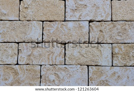 Wall with sandstone blocks typical of Puglia - stock photo