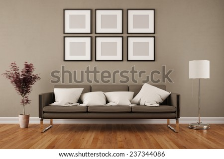 wall picture frames for living room. Wall with six empty picture frames in living room under a sofa  3D Rendering Six Empty Picture Frames Living Stock Illustration 237344086