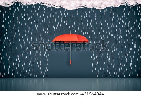 wall with the drawing of dark clouds, rain and one umbrella, concept of protection and security (3d render) - stock photo