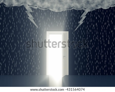 wall with the drawing of dark clouds, rain, lightning. An open door with a light, concept of solution or salvation (3d render) - stock photo