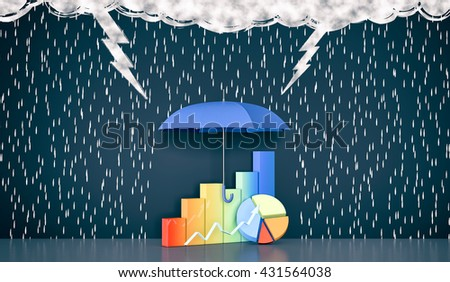 wall with the drawing of dark clouds, rain, lightning. One umbrella is protecting some financial graphs, concept of safe investment (3d render) - stock photo