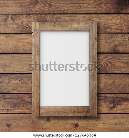 wall wood texture with white poster - stock photo