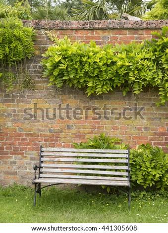 Walled Garden Bench - stock photo