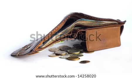 wallet and bit - stock photo