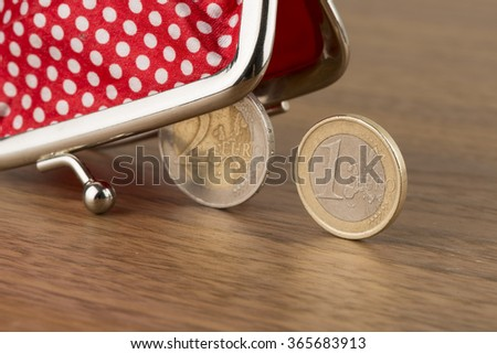 Wallet and euro coins