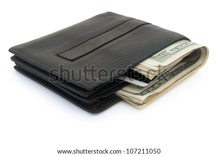 wallet and USD dollars and card with clipping path - stock photo