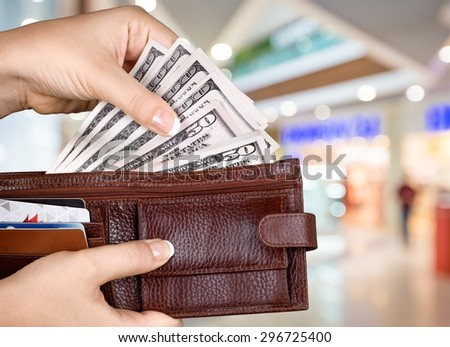 Wallet, Currency, Wages. - stock photo